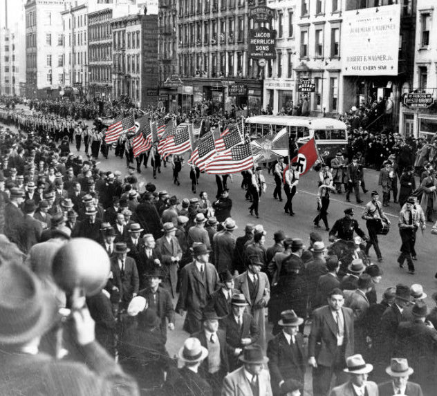Nazi sympathizers march through New York City with American and Nazi flags