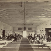 Civil War era photograph of a military hospital ward in Washington D.C.