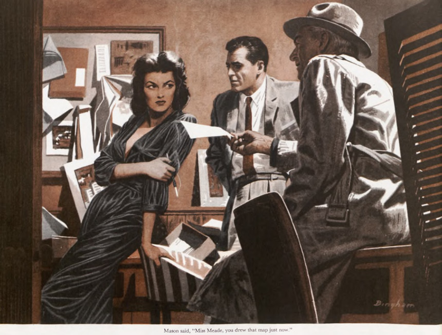 Two detectives talk to a woman in a noir illustration