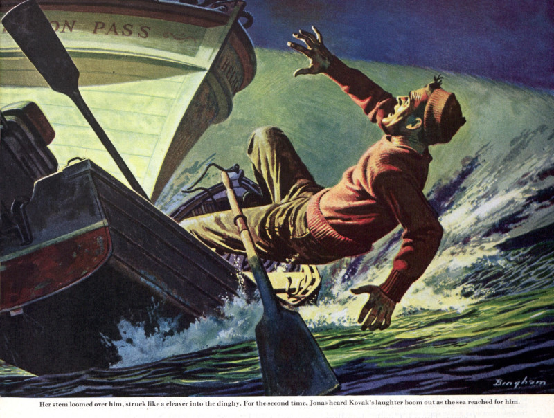 A man crouches in terror as a ship rams the harbor