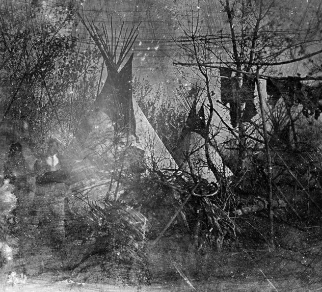 daguerreotype of a Cheyenne tribe's village at Big Timber
