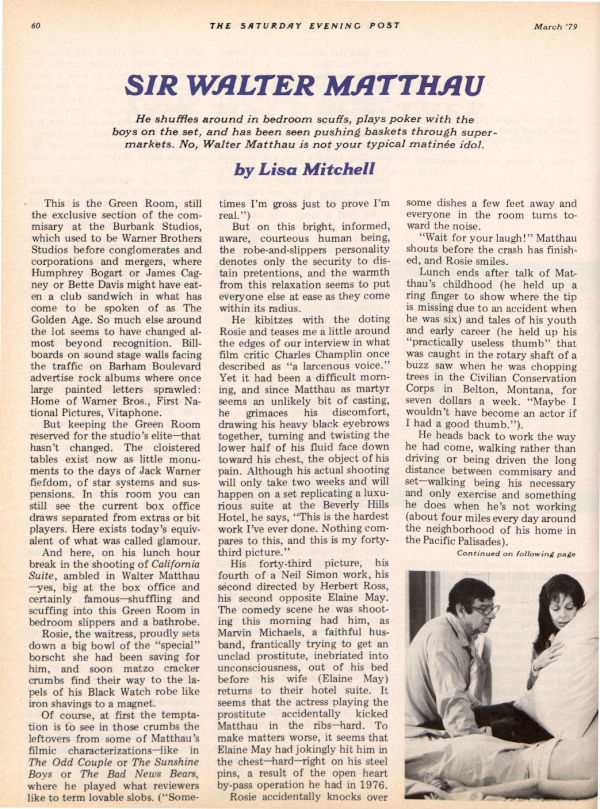 "The first page of the Post article ""Sir Walter Matthau"""