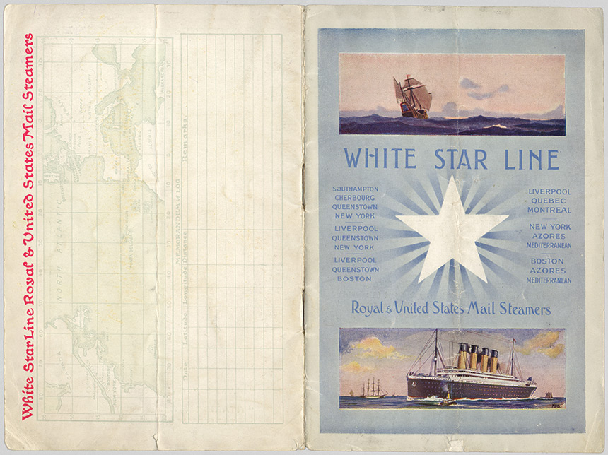 The cover for a 1912 copy of the Titanic's first class passenger list.