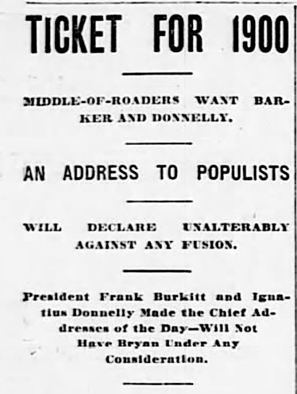 Newspaper advertisement for a Populist meeting that ran in the Kansas City Journal