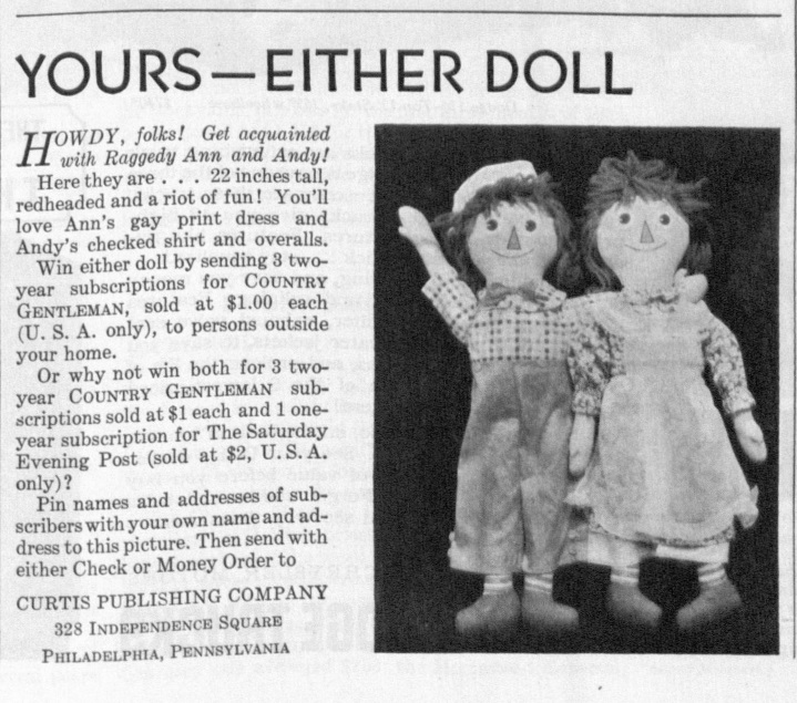 A vintage advertisement for Raggedy Ann and Andy dolls