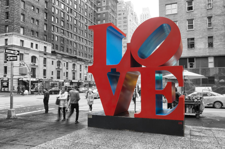 the famous Love sculpture on a city corner