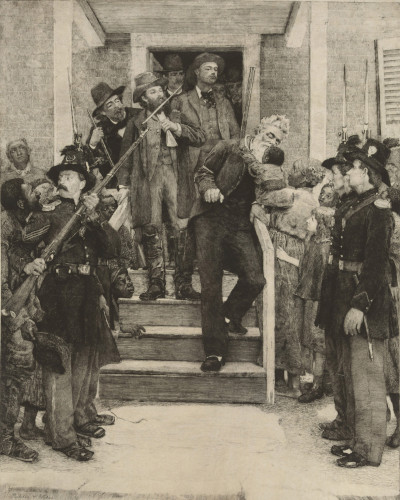 John Brown receives a hug from a Black child as the abolitionist is taken to the gallows.