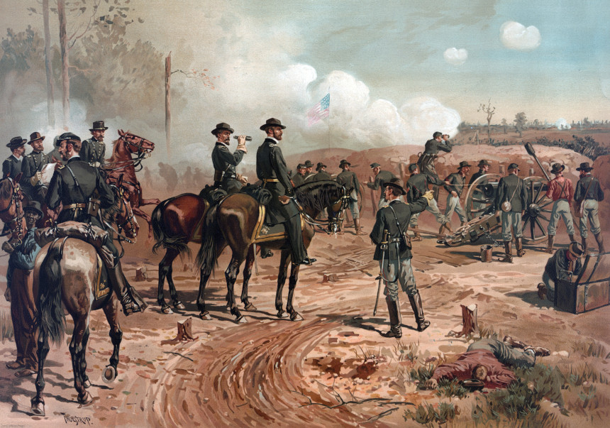 Union general William Sherman oversees the destruction of Atlanta