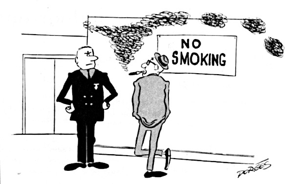 """Man tells his boss that he is smoking in spite of the """"No smoking"""" sign because he is a slow reader."""