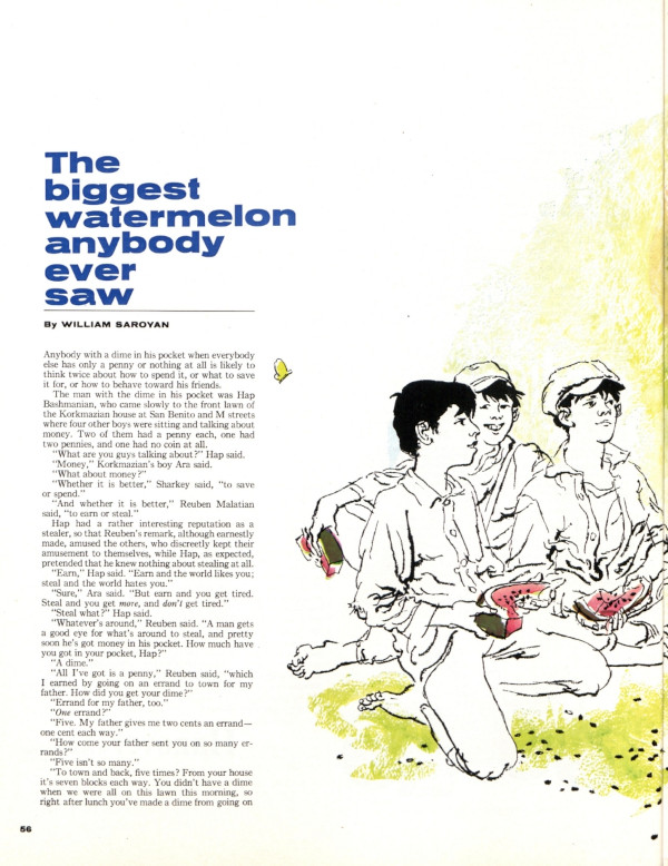 """The first page of the short story """"The Biggest Watermelon Anybody Ever Saw"""" as it appeared in the Post"""