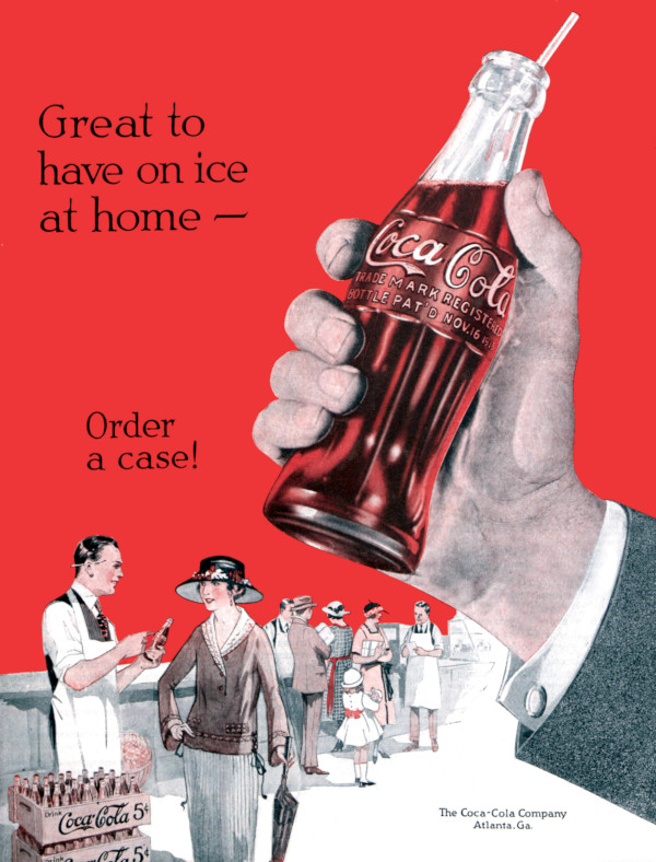 Vintage Coca-Cola advertisement, where customers could purchase a bottle for 5 cents.