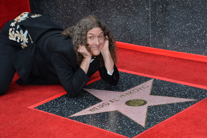"""""""Weird Al"""" Yankovic with his Hollywood Walk of Fame star"""