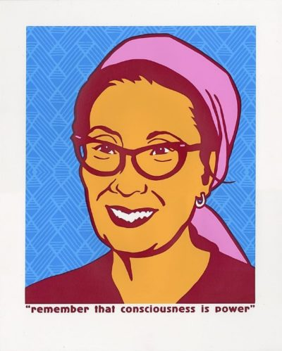 "An illustration of Yuri Kochiyama with the message ""Remember that consciousness is power"""