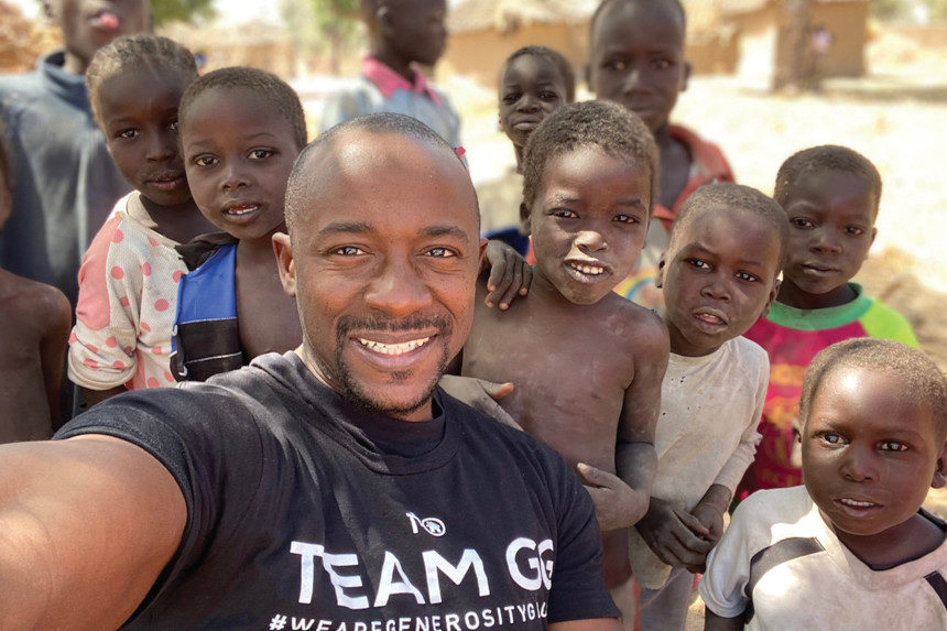 Rich Akwo and children in Cameroon.
