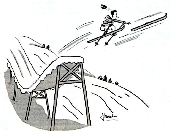 Man loses a ski during a jump.