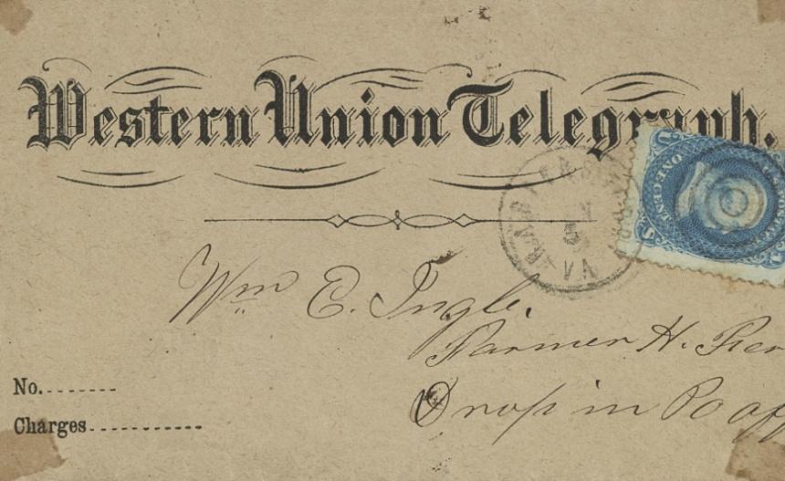 An envelope containing a telegraph