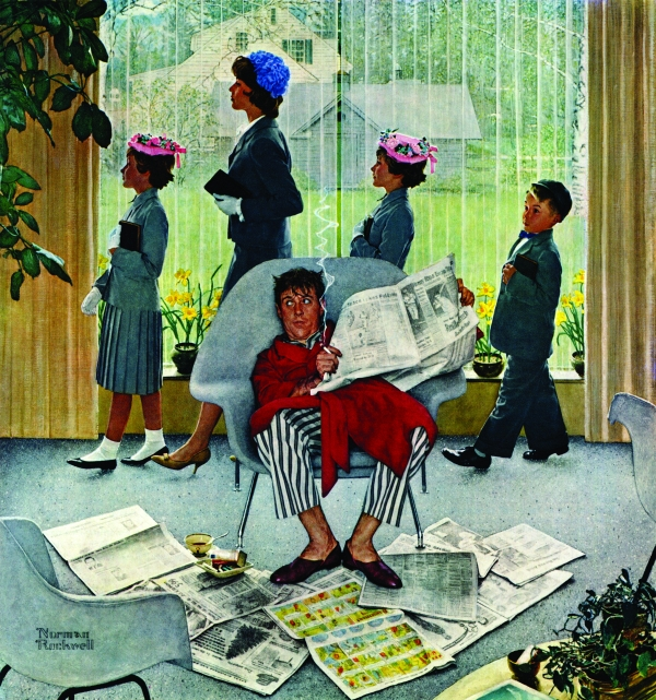 A mother and her children leave for church in a huff as dad reads the Sunday paper in his pajamas.