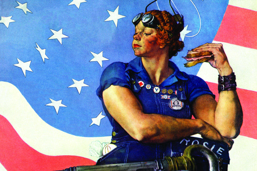 """Norman Rockwell's iconic """"Rosie Riveter"""" cover, featuring a female construction worker eating lunch with her jackhammer on her lap."""