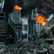 A city is completely destroyed in this computer generated image.