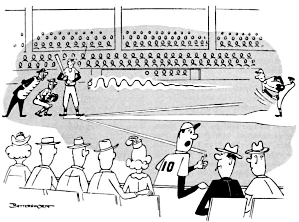 Baseball fans discuss a batter's performance during a game.