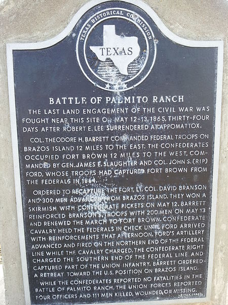 Historical marker at the Battle of Palmito Ranch site.