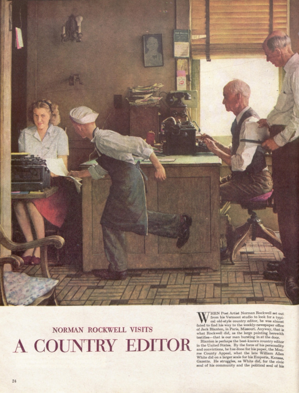 """The first page of the Post article """"Norman Rockwell Visits a Country Editor"""""""
