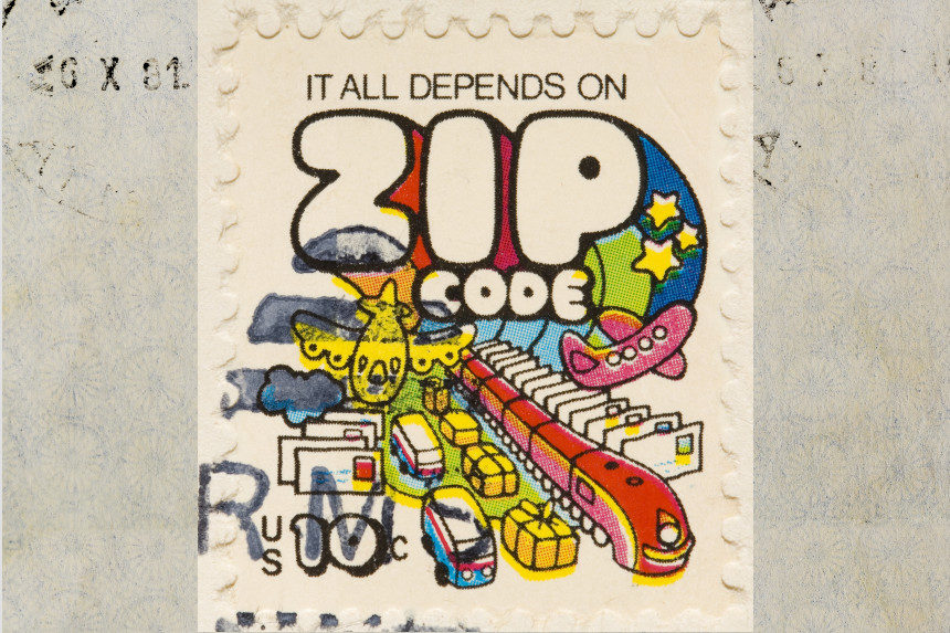 Vintage stamp from 1972 advertising the zip code