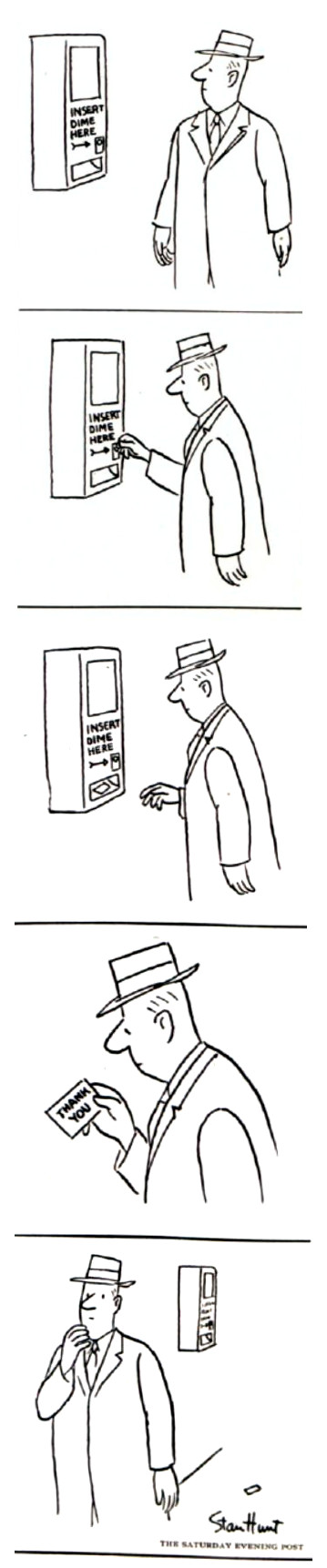 """Man inserts a dime into a machine just to receive a """"Thank You"""" note."""