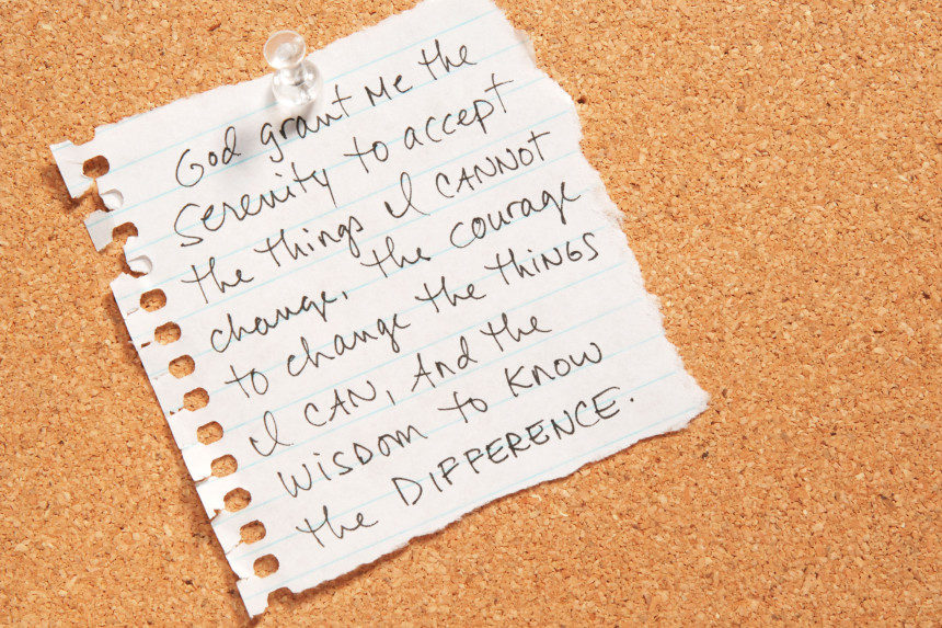 Copy of the serenity prayer on a piece of notebook paper