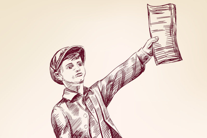 Illustration of a newsboy holding out a paper.
