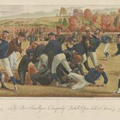 Illustration depicting the first intercollegiate football game between Yale and Princeton