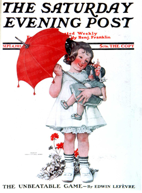 Little girl with a parasol and her doll
