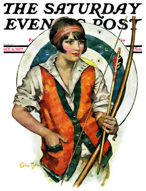 Woman holding a bow & arrow, target behind
