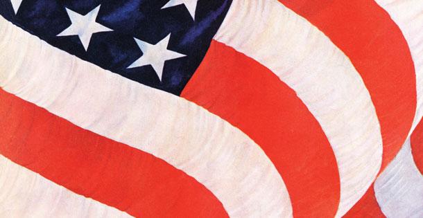 Close up of rippling American flag. John Clymer © 1942 SEPS