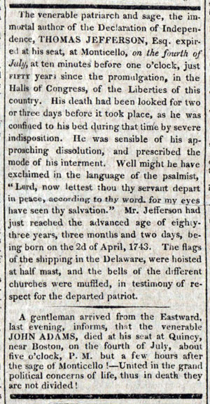 News of the death of John Adams and Thomas Jefferson from the July 8, 1826 issue of the Post.