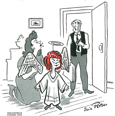 "cartoon angel, ""Hasn't her teacher got her playing a little out of character?""  December 11, 1948"