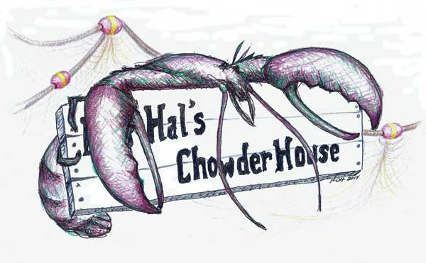 "Illustration of a lobster hugging a sign that reads ""Hal's Chowder House."""