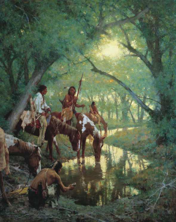 Cheyenne Indians stopping for water at a creek deep in a forest.