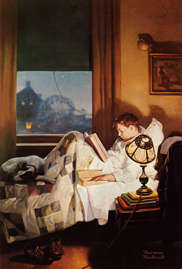 And Every Lad May Be Aladdin (Crackers in Bed) Edison Mazda advertisement, 1920 Norman Rockwell
