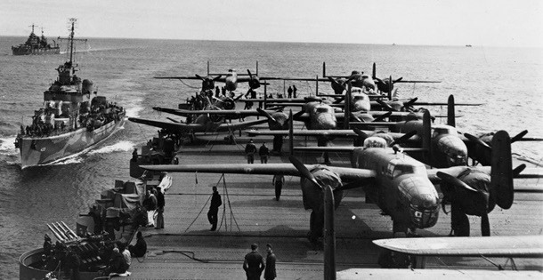 B-25 Bombers on a US Aircraft carrier in the Pacific Ocean