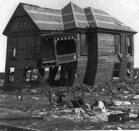 One of the few Galveston houses still standing — barely— after  the 1900 hurricane.