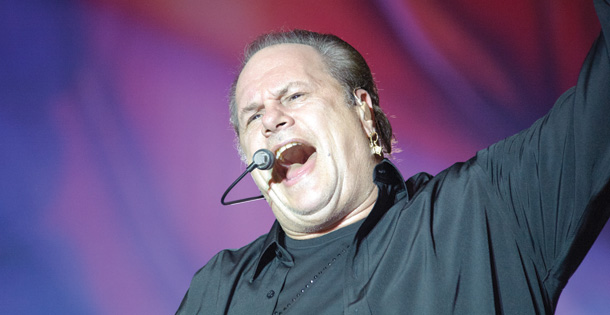 Harry Wayne Casey, leader of KC and the Sunshine Band, singing in concert