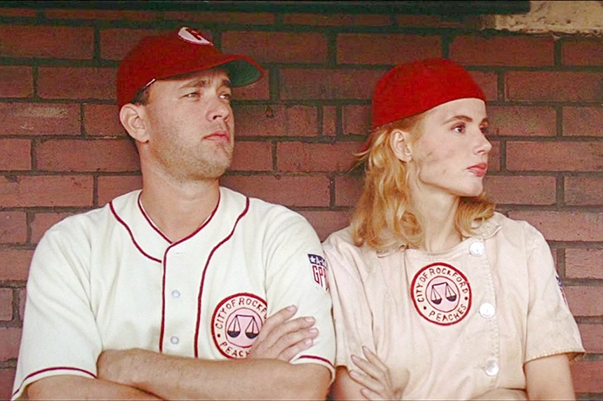 "Scene from the 1992 WWII-era baseball movie ""A League of Their Own"", starring Tom Hanks and Geena Davis."
