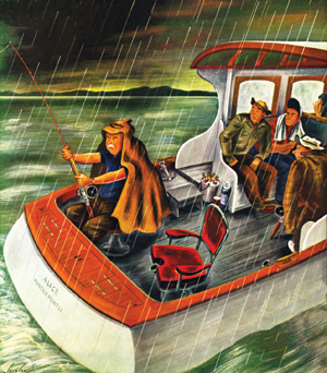 Constantin Alajalov's illustration of a fisherman on a boat in the rain.