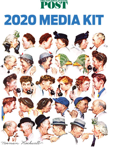 The cover for the Saturday Evening Post's Media Kit, featuring Norman Rockwell's cover illustration, The Gossips.