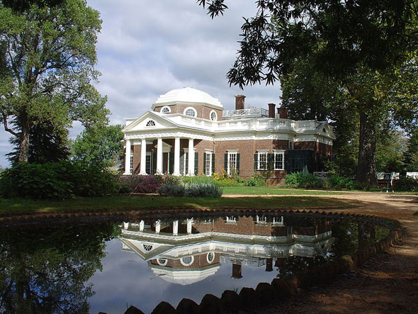 Monticello, the home of Thomas Jefferson, in Charlottesville, Virginia. (Courtesy Wikimedia Commons)