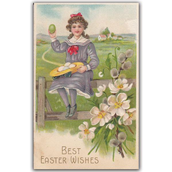 Easter postcard of girl with basket of eggs