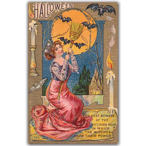 Halloween postcard of woman looking at full moon and bats in sky