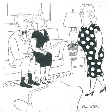 Mom walking buy daughters date in living room. cartoon