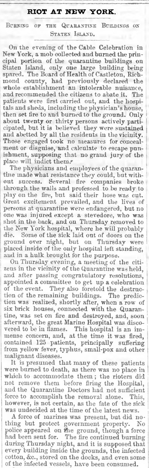 Newspaper report from 1858 about a riot in New York City